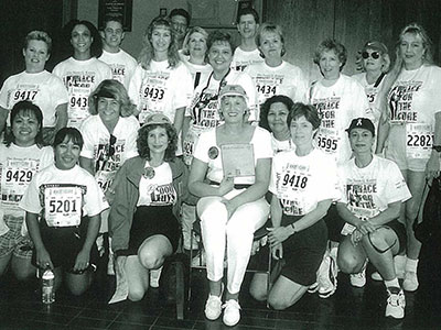 In 1998, Pacific Life's Individual Client Services fielded a team in support of their coworker, Jennifer Blackstone (center), who had been battling breast cancer.